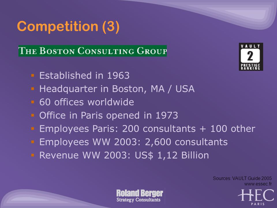 Competition (3)  Established in 1963  Headquarter in Boston, MA / USA  60 offices worldwide  Office in Paris opened in 1973  Employees Paris: 200