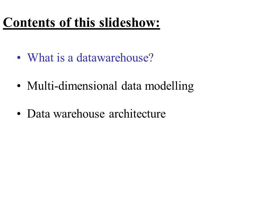 The Data Warehouse Bus Architecture = Arkitektur for design af en række data marts som tilsammen udgør virksomhedens data warehouse med fælles conformed dimensions og conformed facts.