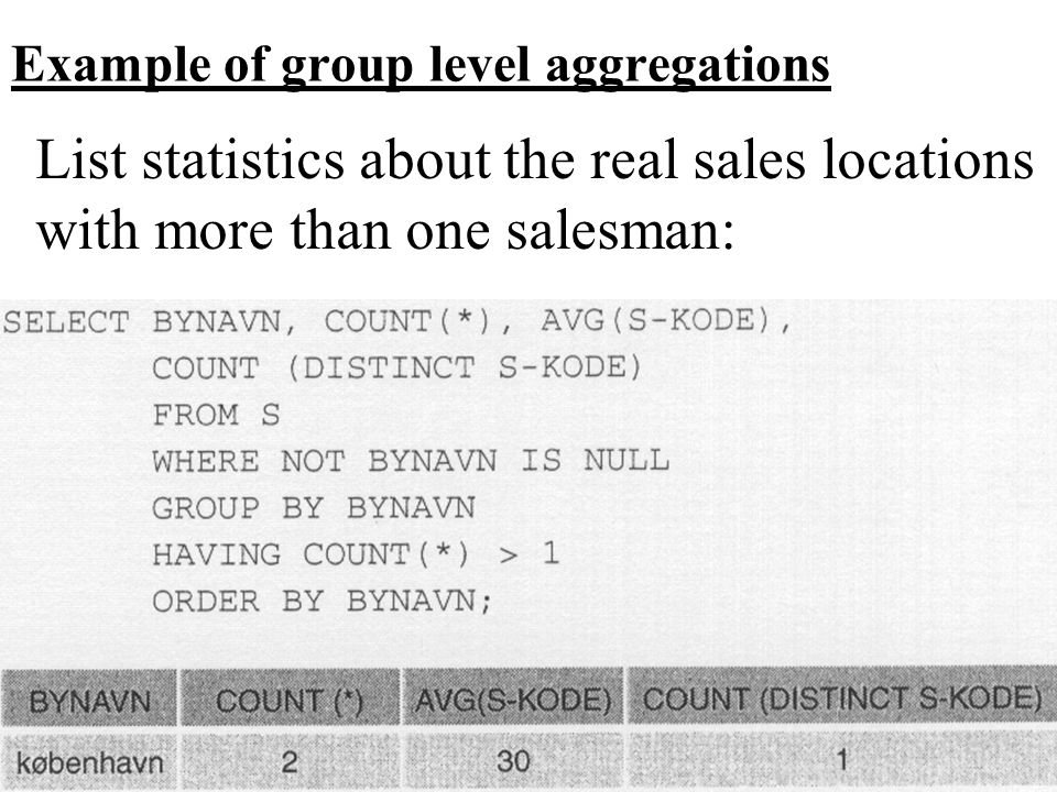 Example of group level aggregations List statistics about the real sales locations with more than one salesman: