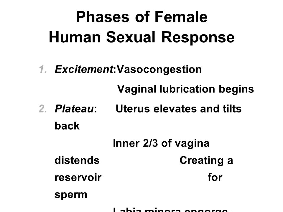 Phases of Female Human Sexual Response  Excitement:Vasocongestion Vaginal lubrication begins  Plateau: Uterus elevates and tilts back Inner 2/3 of vagina distends Creating a reservoir for sperm Labia minora engorge- Opening vaginal orifice