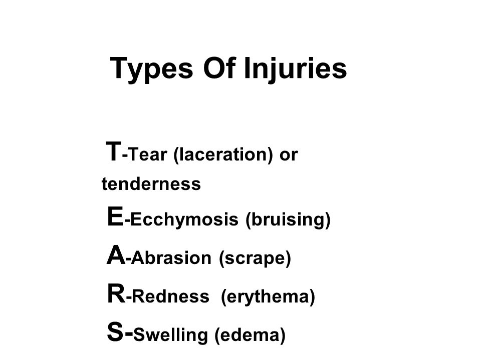 Types Of Injuries T -Tear (laceration) or tenderness E -Ecchymosis (bruising) A -Abrasion (scrape) R -Redness (erythema) S- Swelling (edema)