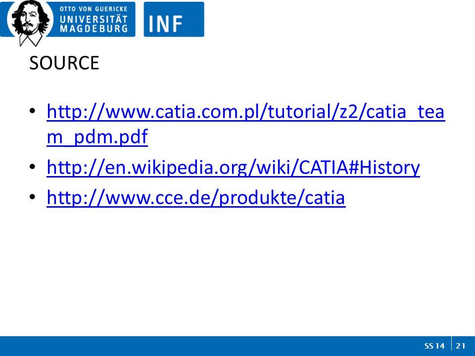 21 SS 14 SOURCE http://www.catia.com.pl/tutorial/z2/catia_tea m_pdm.pdf http://www.catia.com.pl/tutorial/z2/catia_tea m_pdm.pdf http://en.wikipedia.org/wiki/CATIA#History http://www.cce.de/produkte/catia