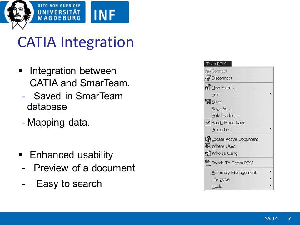 7 SS 14 CATIA Integration  Integration between CATIA and SmarTeam.