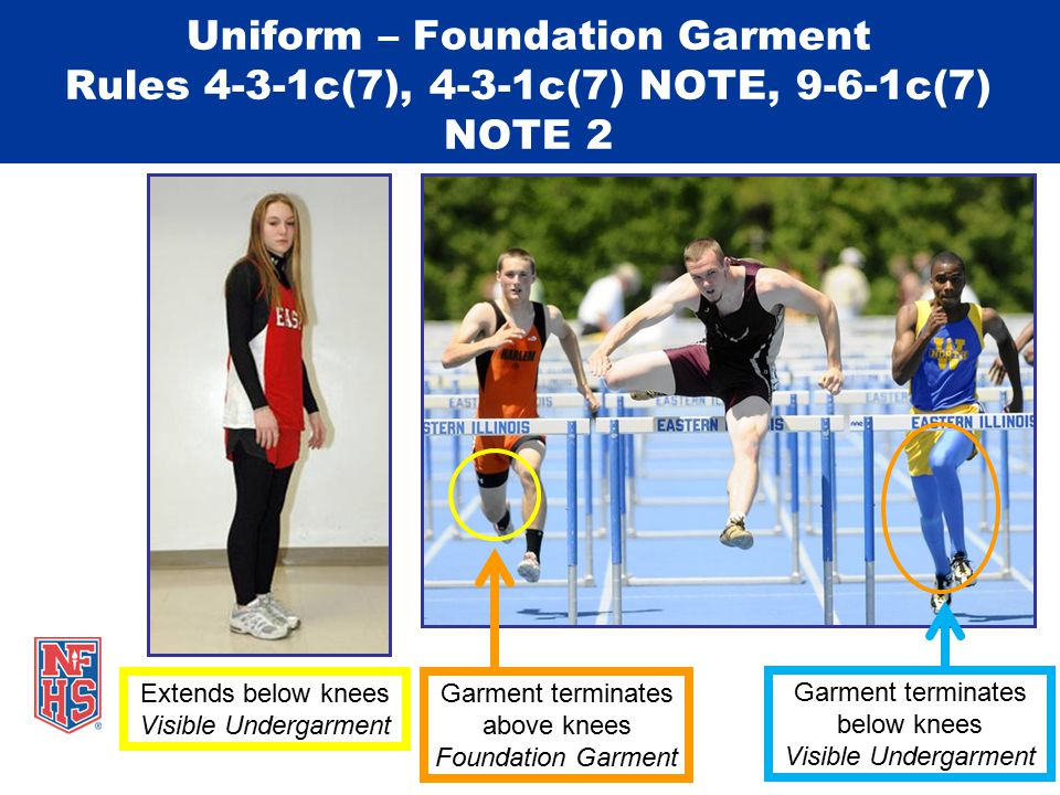 Uniform – Foundation Garment Rules 4-3-1c(7), 4-3-1c(7) NOTE, 9-6-1c(7) NOTE 2 Extends below knees Visible Undergarment Garment terminates above knees Foundation Garment Garment terminates below knees Visible Undergarment