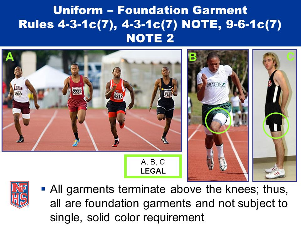  All garments terminate above the knees; thus, all are foundation garments and not subject to single, solid color requirement Uniform – Foundation Garment Rules 4-3-1c(7), 4-3-1c(7) NOTE, 9-6-1c(7) NOTE 2 A, B, C LEGAL A B C