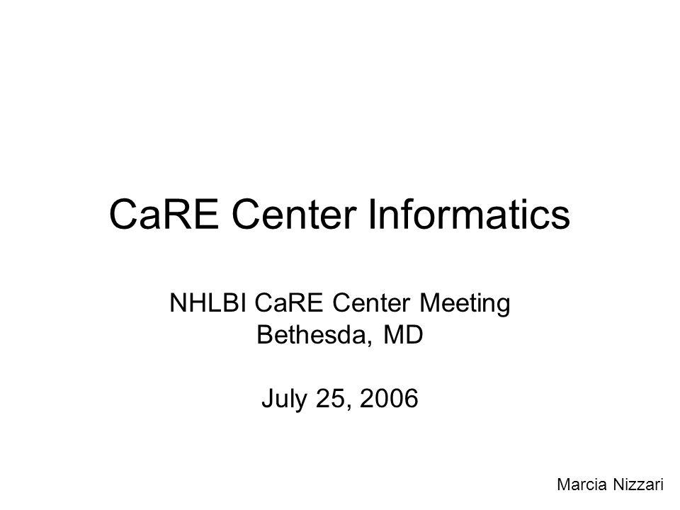 CaRE Center Informatics NHLBI CaRE Center Meeting Bethesda, MD July 25, 2006 Marcia Nizzari