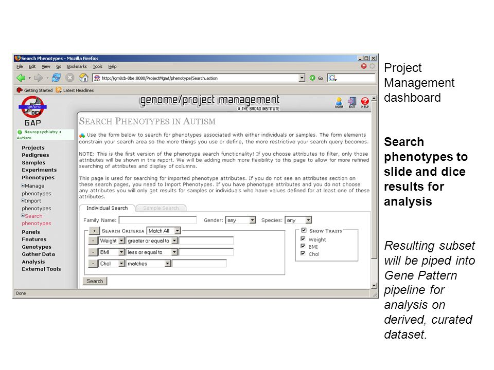 Project Management dashboard Search phenotypes to slide and dice results for analysis Resulting subset will be piped into Gene Pattern pipeline for analysis on derived, curated dataset.