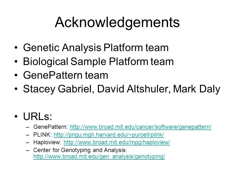 Acknowledgements Genetic Analysis Platform team Biological Sample Platform team GenePattern team Stacey Gabriel, David Altshuler, Mark Daly URLs: –GenePattern: http://www.broad.mit.edu/cancer/software/genepattern/http://www.broad.mit.edu/cancer/software/genepattern/ –PLINK: http://pngu.mgh.harvard.edu/~purcell/plink/http://pngu.mgh.harvard.edu/~purcell/plink/ –Haploview: http://www.broad.mit.edu/mpg/haploview/http://www.broad.mit.edu/mpg/haploview/ –Center for Genotyping and Analysis: http://www.broad.mit.edu/gen_analysis/genotyping/ http://www.broad.mit.edu/gen_analysis/genotyping/