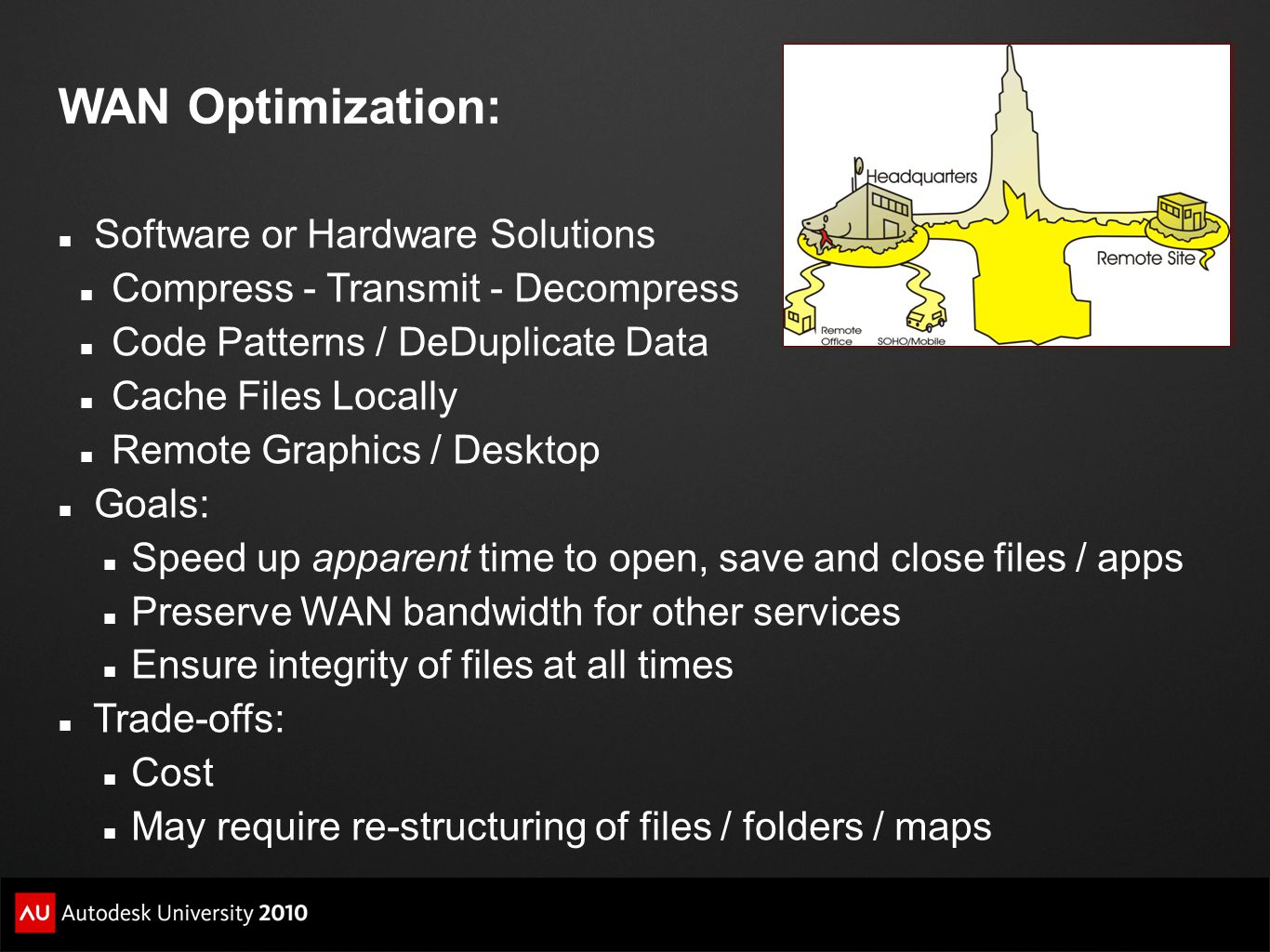 WAN Optimization: Software or Hardware Solutions Compress - Transmit - Decompress Code Patterns / DeDuplicate Data Cache Files Locally Remote Graphics / Desktop Goals: Speed up apparent time to open, save and close files / apps Preserve WAN bandwidth for other services Ensure integrity of files at all times Trade-offs: Cost May require re-structuring of files / folders / maps
