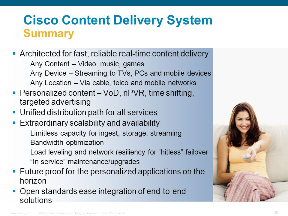 © 2006 Cisco Systems, Inc. All rights reserved.Cisco ConfidentialPresentation_ID 30 DRAFT Cisco Content Delivery System Summary  Architected for fast