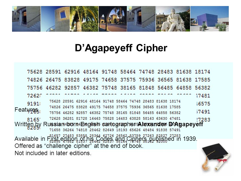 D'Agapeyeff Cipher Features Written by Russian born English cartographer Alexander D Agapeyeff Available in First edition of his Codes and Ciphers published in 1939.