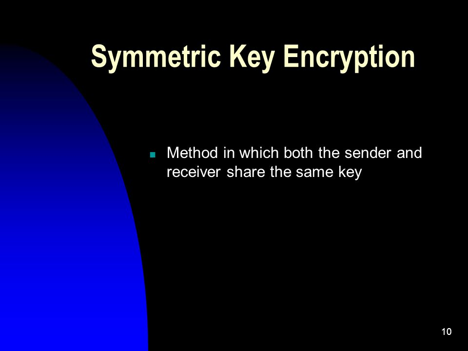 10 Symmetric Key Encryption Method in which both the sender and receiver share the same key