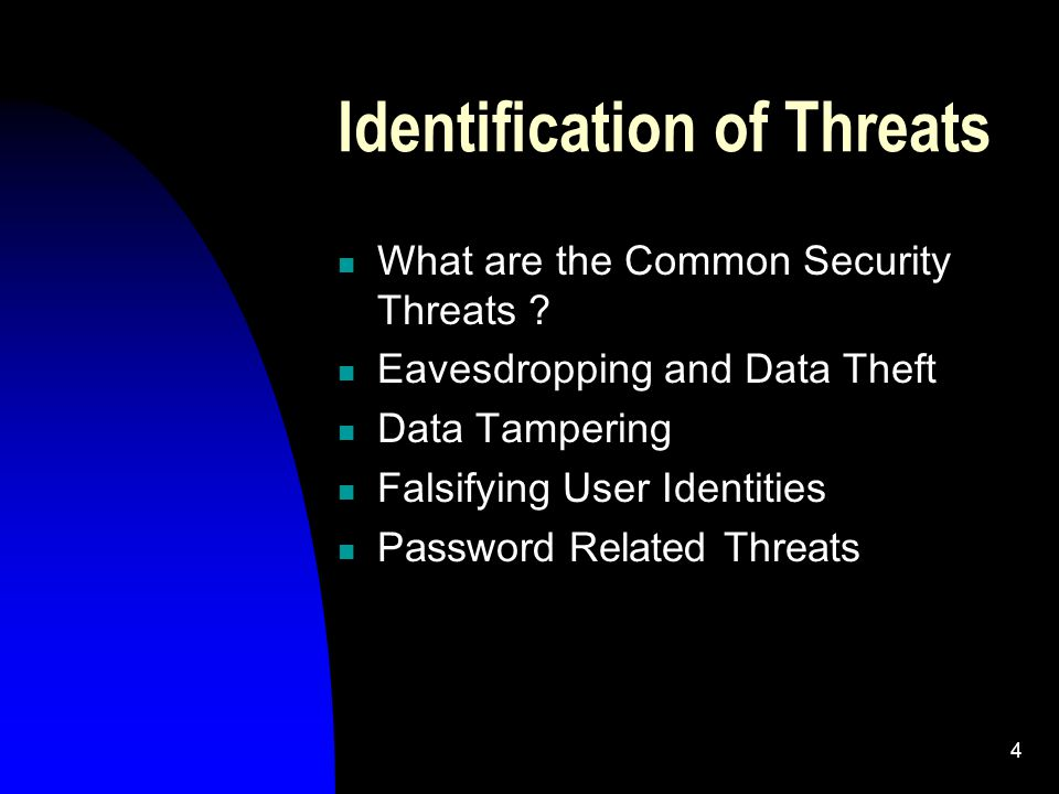 4 Identification of Threats What are the Common Security Threats .