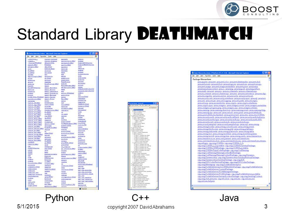 copyright 2007 David Abrahams 5/1/2015 3 Standard Library Deathmatch PythonJavaC++