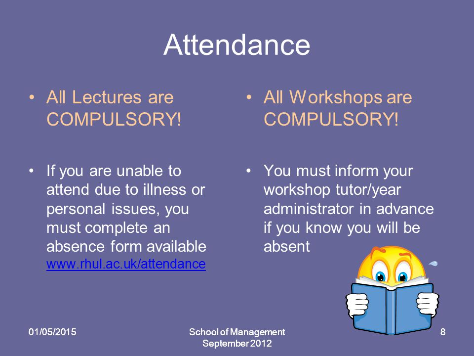 Attendance All Lectures are COMPULSORY.