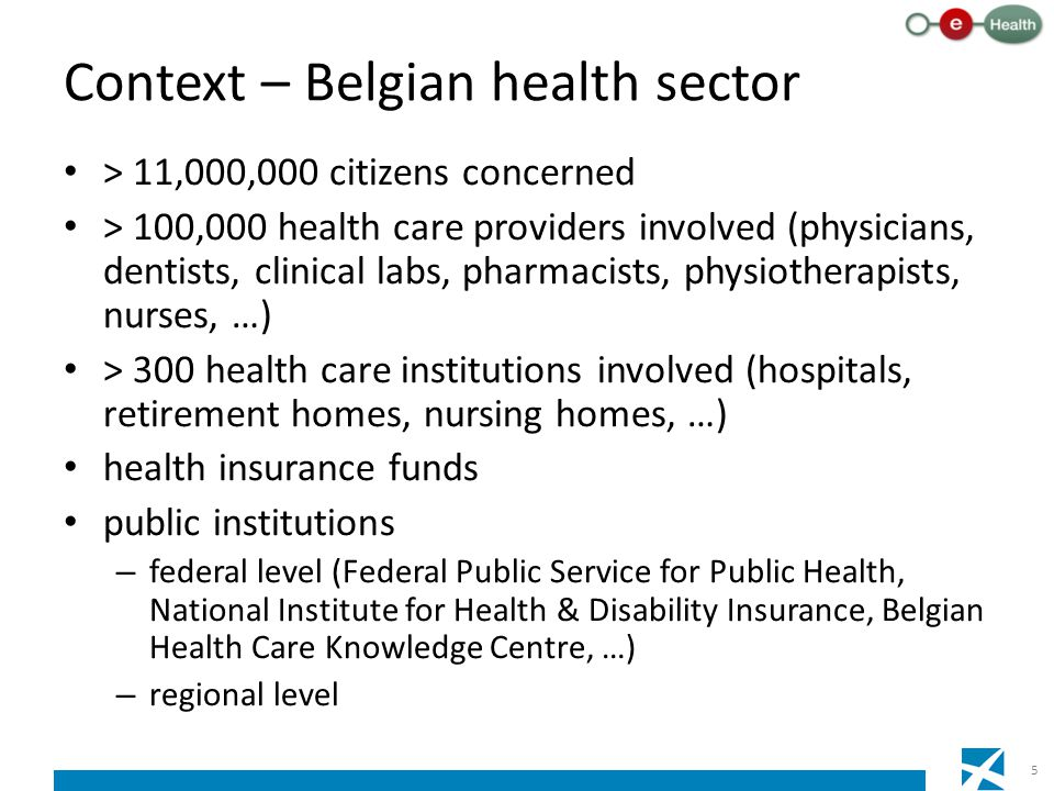 Context – Belgian health sector > 11,000,000 citizens concerned > 100,000 health care providers involved (physicians, dentists, clinical labs, pharmacists, physiotherapists, nurses, …) > 300 health care institutions involved (hospitals, retirement homes, nursing homes, …) health insurance funds public institutions – federal level (Federal Public Service for Public Health, National Institute for Health & Disability Insurance, Belgian Health Care Knowledge Centre, …) – regional level 5
