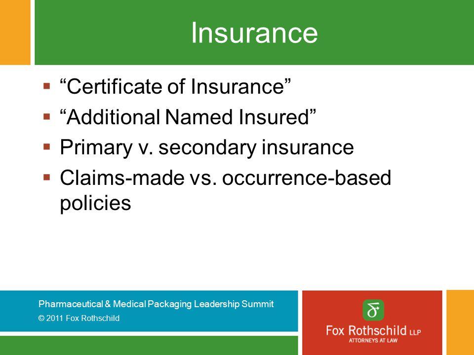 Pharmaceutical & Medical Packaging Leadership Summit © 2011 Fox Rothschild Insurance  Certificate of Insurance  Additional Named Insured  Primary v.