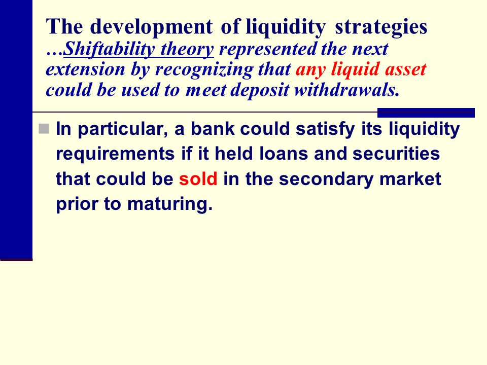 The development of liquidity strategies … Shiftability theory represented the next extension by recognizing that any liquid asset could be used to mee
