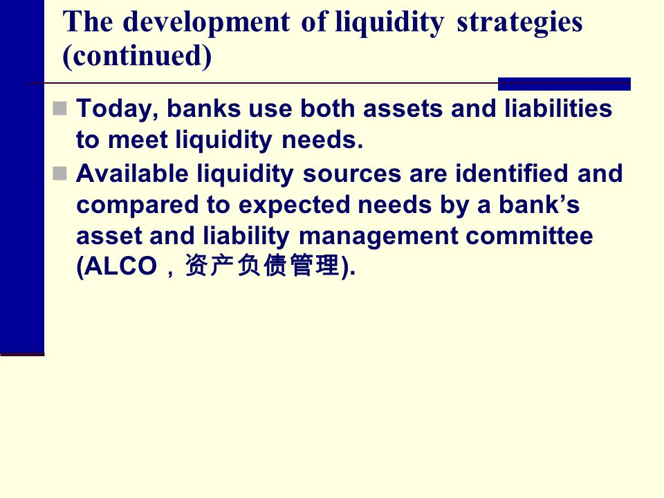 The development of liquidity strategies (continued) Today, banks use both assets and liabilities to meet liquidity needs. Available liquidity sources