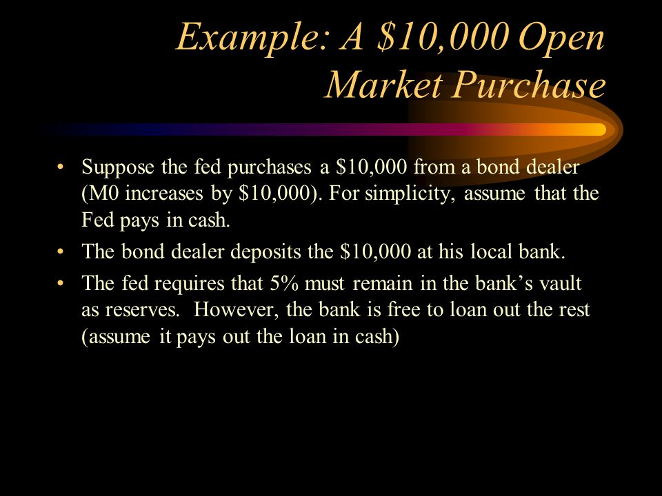 Example: A $10,000 Open Market Purchase Suppose the fed purchases a $10,000 from a bond dealer (M0 increases by $10,000). For simplicity, assume that