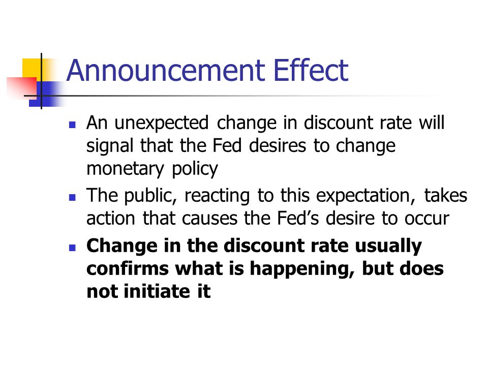 Announcement Effect An unexpected change in discount rate will signal that the Fed desires to change monetary policy The public, reacting to this expectation, takes action that causes the Fed's desire to occur Change in the discount rate usually confirms what is happening, but does not initiate it