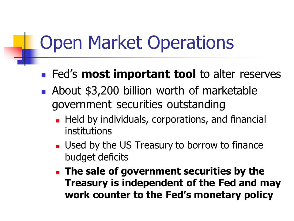 Open Market Operations Fed's most important tool to alter reserves About $3,200 billion worth of marketable government securities outstanding Held by