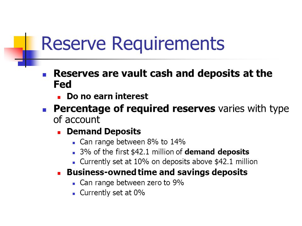 Reserve Requirements Reserves are vault cash and deposits at the Fed Do no earn interest Percentage of required reserves varies with type of account D