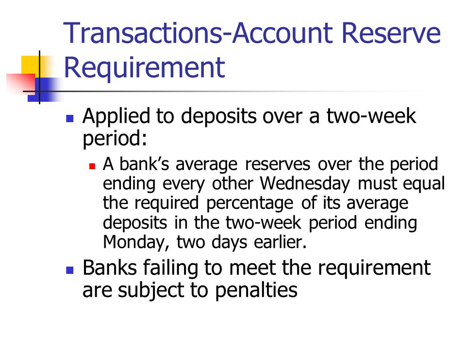 Effect of Lowering the Reserve Requirement Automatically increases all banks' excess reserves Increases demand deposit through multiple lending However, the ultimate impact depends on banks desire to make loans— element of discretion Expands the money supply