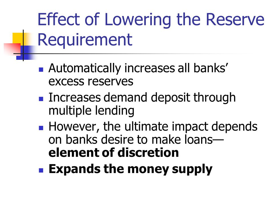 Effect of Raising the Reserve Requirement Decrease banks' excess reserves and may force them to take steps to correct a deficit reserve position Restrains lending and deposit creation Contracts the money supply