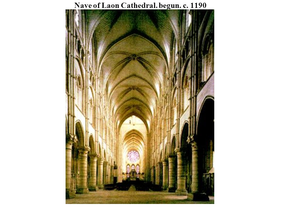 Nave of Laon Cathedral. begun. c. 1190