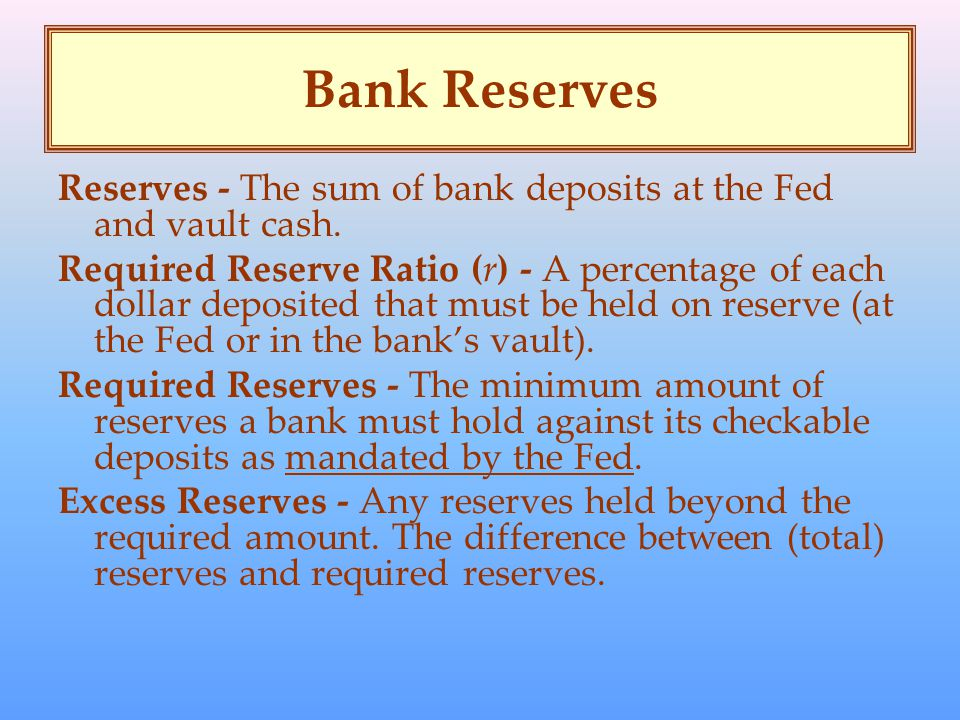 Bank Reserves Reserves - The sum of bank deposits at the Fed and vault cash.