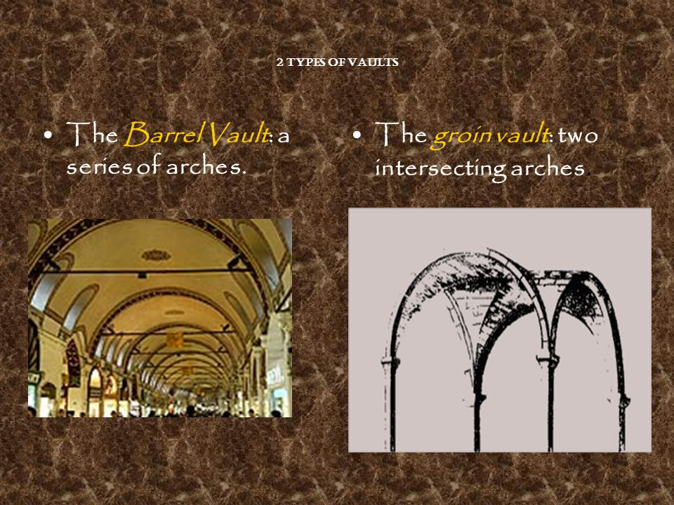 2 types of Vaults The Barrel Vault: a series of arches. The groin vault: two intersecting arches.