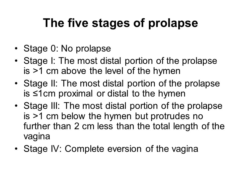 The five stages of prolapse Stage 0: No prolapse Stage I: The most distal portion of the prolapse is >1 cm above the level of the hymen Stage II: The