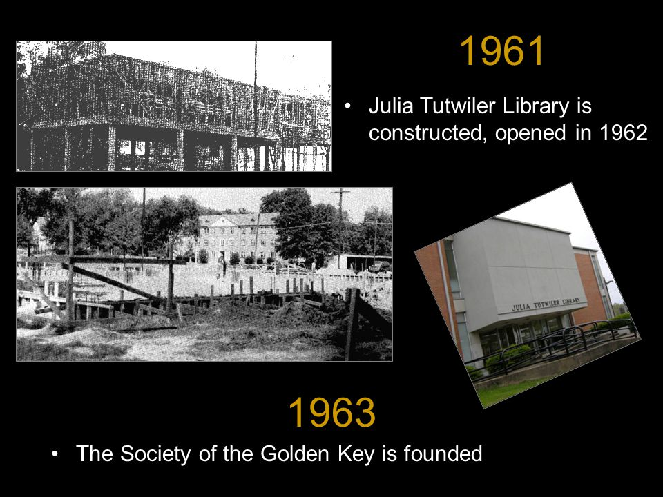 1963 The Society of the Golden Key is founded 1961 Julia Tutwiler Library is constructed, opened in 1962