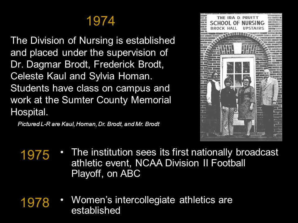 1974 The Division of Nursing is established and placed under the supervision of Dr.