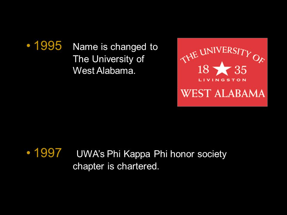 1995 Name is changed to The University of West Alabama.