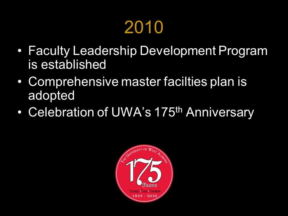 2010 Faculty Leadership Development Program is established Comprehensive master facilties plan is adopted Celebration of UWA's 175 th Anniversary