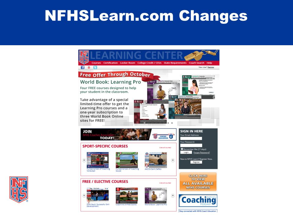 NFHSLearn.com Changes