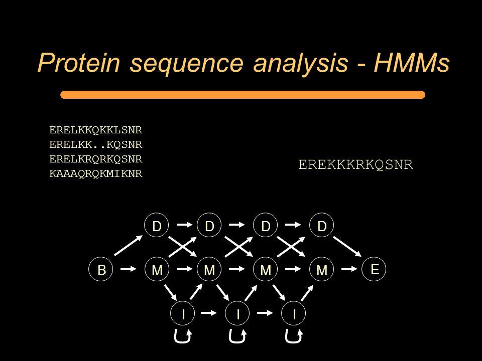 Protein sequence analysis - HMMs ERELKKQKKLSNR ERELKK..KQSNR ERELKRQRKQSNR KAAAQRQKMIKNR MMMM D I EREKKKRKQSNR D I B E DD I