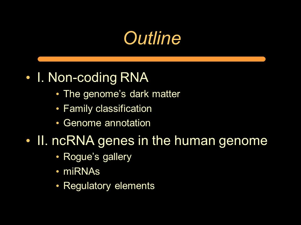 Outline I. Non-coding RNA The genome's dark matter Family classification Genome annotation II. ncRNA genes in the human genome Rogue's gallery miRNAs