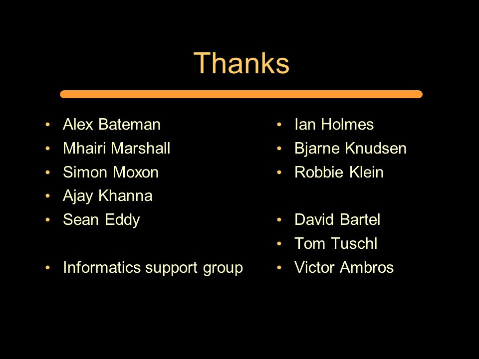 Thanks Alex Bateman Mhairi Marshall Simon Moxon Ajay Khanna Sean Eddy Informatics support group Ian Holmes Bjarne Knudsen Robbie Klein David Bartel Tom Tuschl Victor Ambros