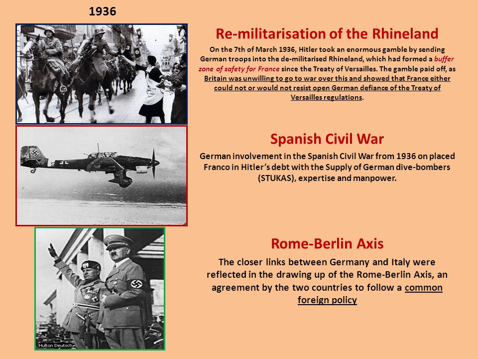 1936 Re-militarisation of the Rhineland On the 7th of March 1936, Hitler took an enormous gamble by sending German troops into the de-militarised Rhin