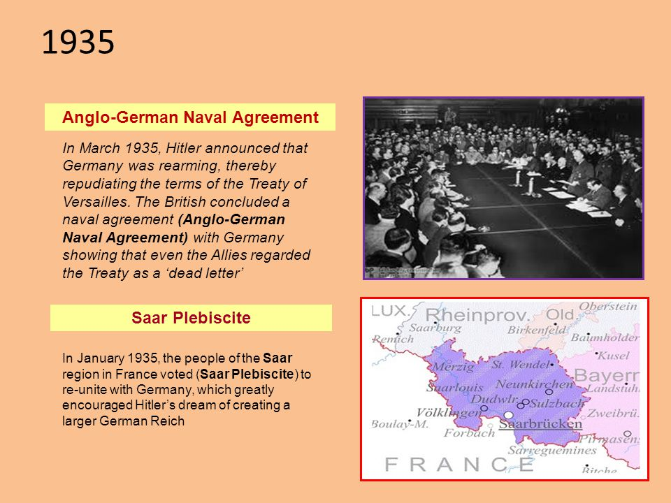 1935 Anglo-German Naval Agreement In January 1935, the people of the Saar region in France voted (Saar Plebiscite) to re-unite with Germany, which gre
