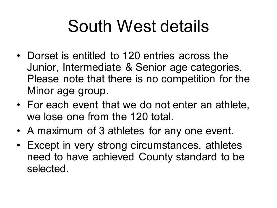Senior Boys Standards SB 100m 10.90 11.10 11.50 SB 200m 22.00 22.30 23.30 SB 400m 48.80 49.30 52.50 SB 800m 1:53.00 1:55.00 2:02.00 SB 1500m 3:55.00 3:58.00 4:15.00 SB 3000m 8:33.00 8:36.00 9:20.00 SB 110m Hurdles 14.80 15.20 16.20 SB 400m Hurdles 55.00 56.20 59.50 SB 2000m S/C 6:03.00 6:07.00 6:30.00 SB High Jump 2.02 1.96 1.83 SB Long Jump 6.90 6.80 6.25 SB Triple Jump 14.40 13.90 12.85 SB Pole Vault 4.40 4.10 3.30 SB Shot 14.10 13.00 11.50 SB Discus 46.00 40.00 34.00 SB Javelin 57.00 53.00 46.00 SB Hammer 52.00 46.00 39.00