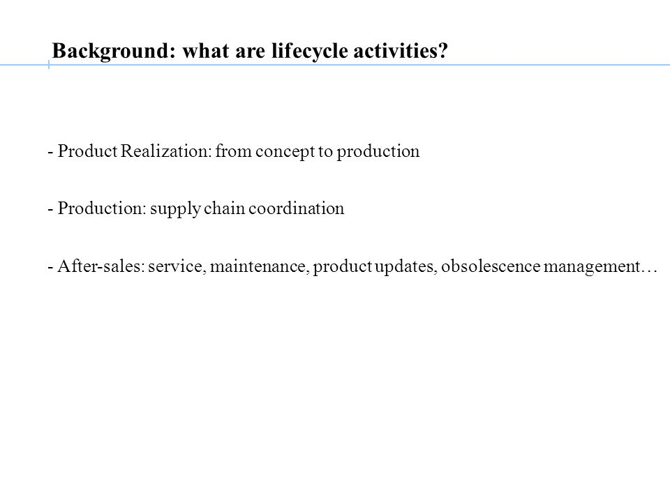 Background: what are lifecycle activities.