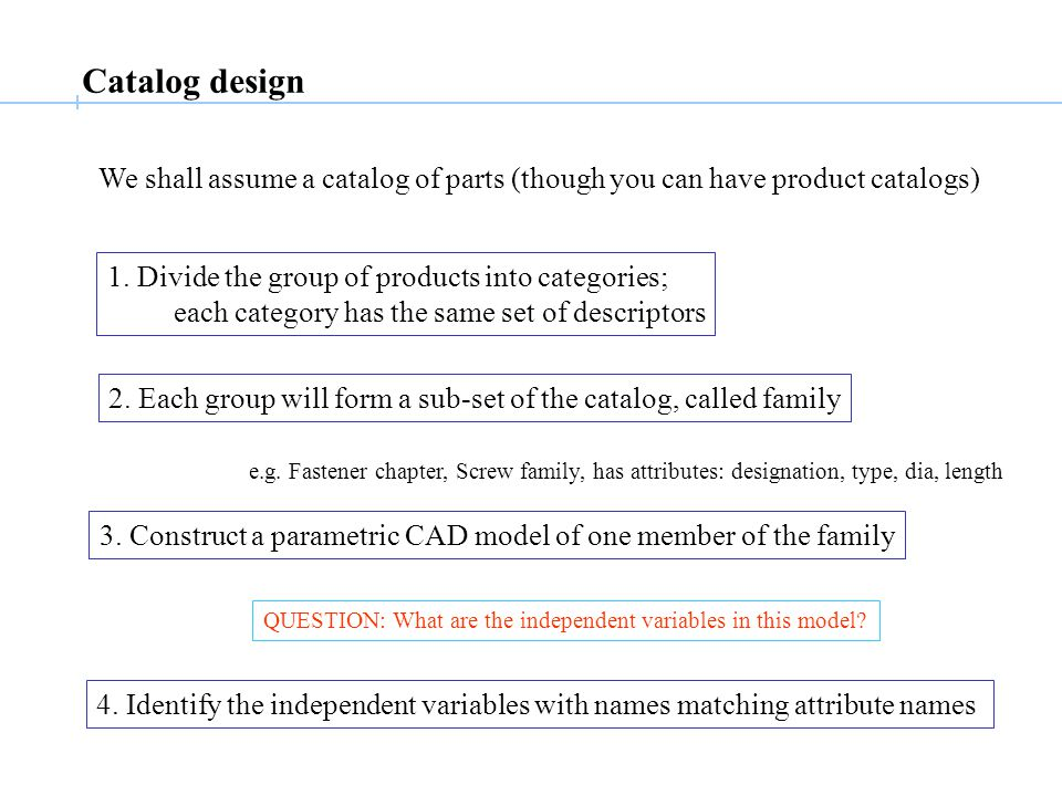 Catalog design We shall assume a catalog of parts (though you can have product catalogs) 1.