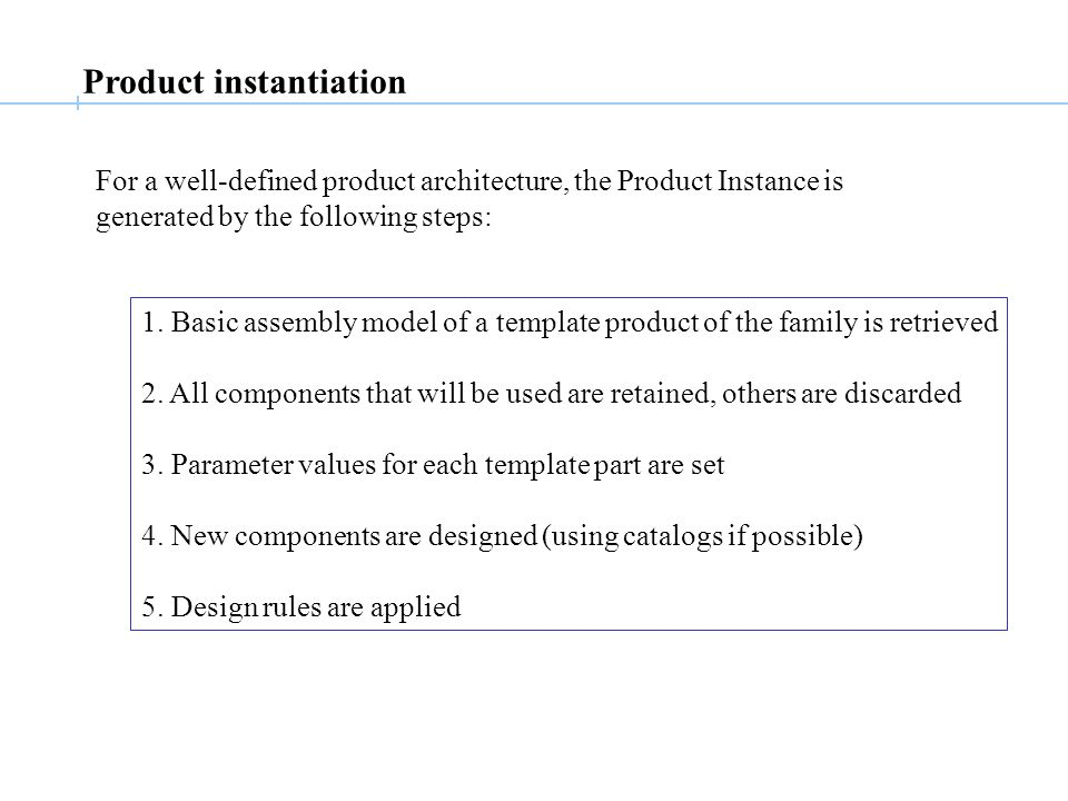 Product instantiation For a well-defined product architecture, the Product Instance is generated by the following steps: 1.