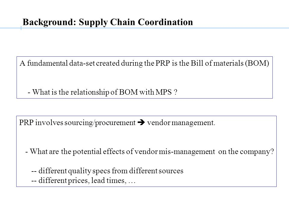 Background: Supply Chain Coordination A fundamental data-set created during the PRP is the Bill of materials (BOM) - What is the relationship of BOM with MPS .