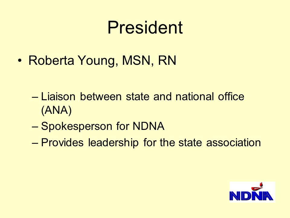 President Roberta Young, MSN, RN –Liaison between state and national office (ANA) –Spokesperson for NDNA –Provides leadership for the state association
