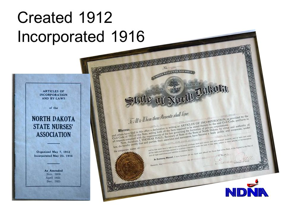 Created 1912 Incorporated 1916